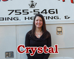 crystal-in the office fielding your plumbing -heating-a/c-service calls - york-pa